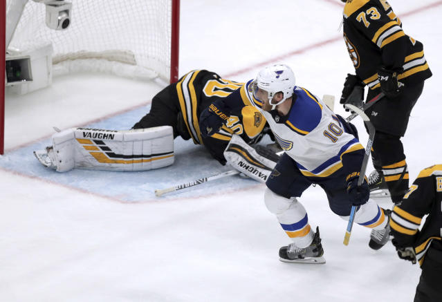 St. Louis Blues' Brayden Schenn (10) celebrates his goal against Boston Bruins goaltender Tuukka Rask, of Finland, during the third period in Game 7 of the NHL hockey Stanley Cup Final, Wednesday, June 12, 2019, in Boston. (AP Photo/Charles Krupa)