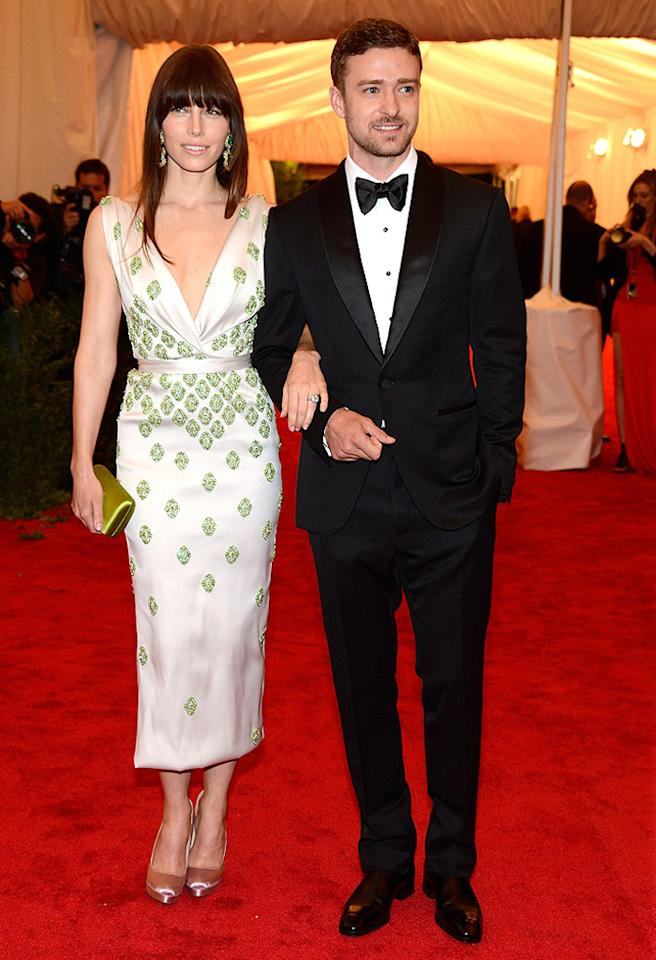 "NEW YORK, NY - MAY 07:  Jessica Biel and Justin Timberlake attend the ""Schiaparelli And Prada: Impossible Conversations"" Costume Institute Gala at the Metropolitan Museum of Art on May 7, 2012 in New York City.  (Photo by Kevin Mazur/WireImage)"