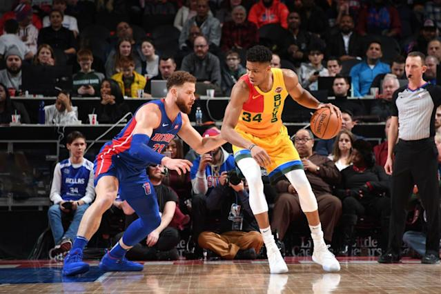 Giannis Antetokounmpo is the MVP frontrunner, but Blake Griffin isn't backing down to anyone. (Getty Images)