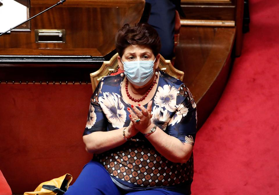 The Minister of Agricultural Policies Teresa Bellanova with surgical mask in the Senate Hall during the report by the President of the Council of Ministers Conte on the results of the extraordinary European Council, which took place in Brussels from 17 to 21 July. Rome (Italy), July 22nd, 2020 (Photo by Massimo Di Vita/Archivio Massimo Di Vita/Mondadori Portfolio via Getty Images) (Photo: Mondadori Portfolio via Getty Images)