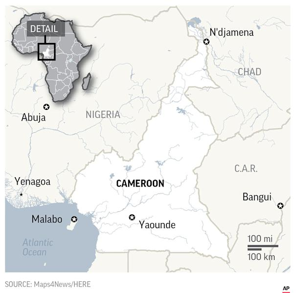 Map locates Cameroon; 2c x 4 inches; 96.3 mm x 101 mm;