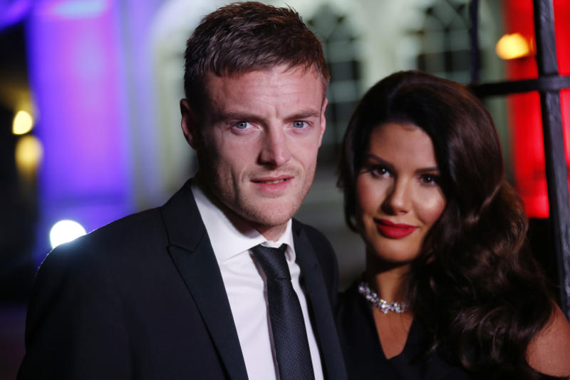 Jamie Vardy and Rebekah Vardy pose for photographers upon arrival at The Sun Military Awards 2016 in London, Wednesday, Dec. 14, 2016. (Photo by Joel Ryan/Invision/AP)
