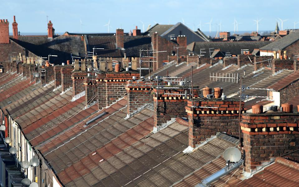 Terraced houses and rooftops in Everton, Liverpool, Merseyside. (Peter Byrne/PA Archive/PA Images)