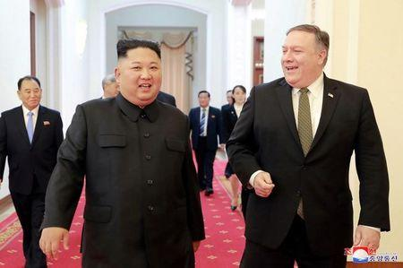 FILE PHOTO: North Korean leader Kim Jong Un meets with U.S. Secretary of State Mike Pompeo in Pyongyang in this photo released by North Korea's Korean Central News Agency (KCNA) on October 7, 2018. KCNA via REUTERS