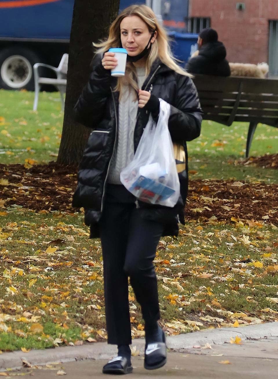 <p>Kaley Cuoco grabs a coffee on Wednesday in Toronto, where she is filming her upcoming movie <i>The Man From Toronto. </i></p>
