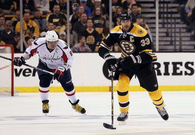 BOSTON, MA - APRIL 14:  Zdeno Chara #33 of the Boston Bruins takes the puck as Alex Ovechkin #8 of the Washington Capitals defends in Game Two of the Eastern Conference Quarterfinals during the 2012 NHL Stanley Cup Playoffs at TD Garden on April 14, 2012 in Boston, Massachusetts. The Washington Capitals defeated the Boston Bruins 2-1 in double overtime.  (Photo by Elsa/Getty Images)
