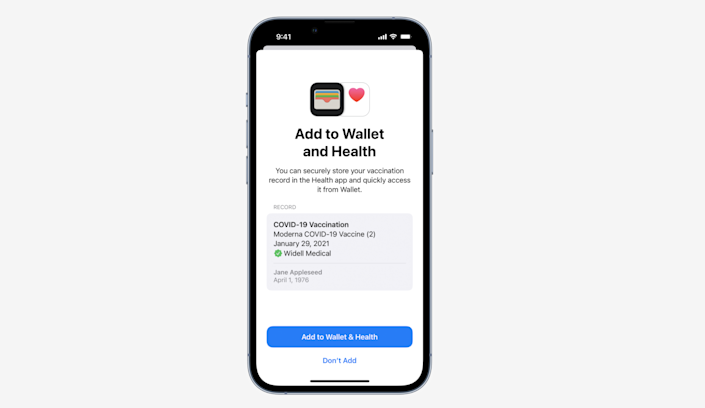 Users will be able to add verified vaccination records into their Wallet