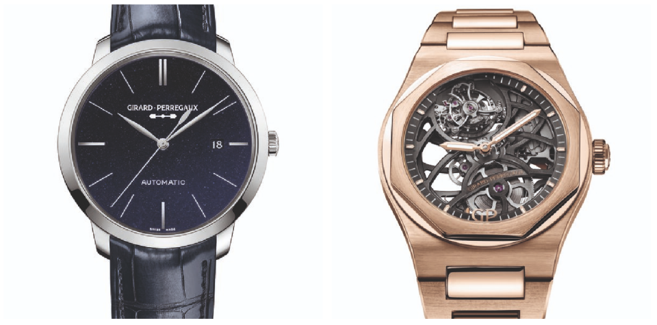 Laureato Flying Tourbillon Skeleton in pink gold; 1966 Orion in steel with aventurine dial. (PHOTO: Girard-Perregaux)