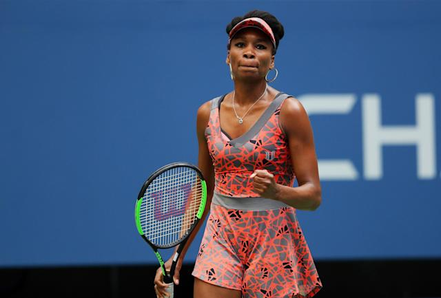 <p>Venus Williams of the United States reacts during her first round Women's Single match against Viktoria Kuzmova of Slovakia on Day One of the 2017 US Open at the USTA Billie Jean King National Tennis Center on August 28, 2017 in the Flushing neighborhood of the Queens borough of New York City. (Photo by Richard Heathcote/Getty Images) </p>