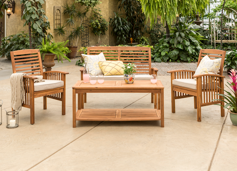 9f17093c14b6 Manor Park 4-Piece Acacia Wood Outdoor Patio Set