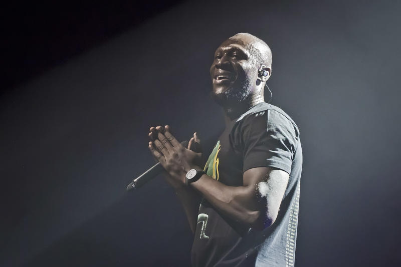 British rapper Stormzy performs live on stage during a concert at the Columbiahalle on February 20, 2020 in Berlin, Germany. (Photo by Frank Hoensch/Redferns)