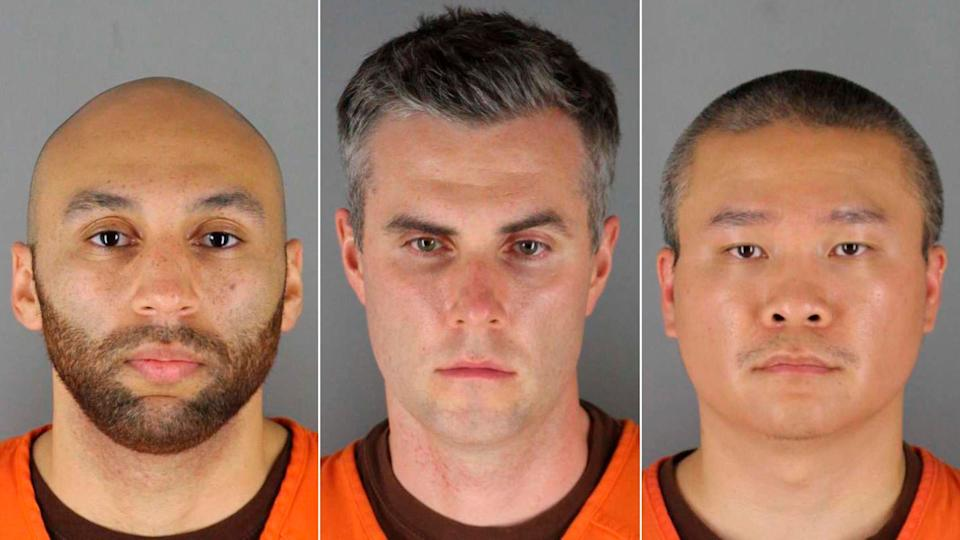 This combination of photos provided by the Hennepin County Sheriff's Office in Minnesota on June 3, 2020, shows (left to right) former Minneapolis police officers J. Alexander Kueng, Thomas Lane and Tou Thao. (Photo: Hennepin County Sheriff's Office via AP)