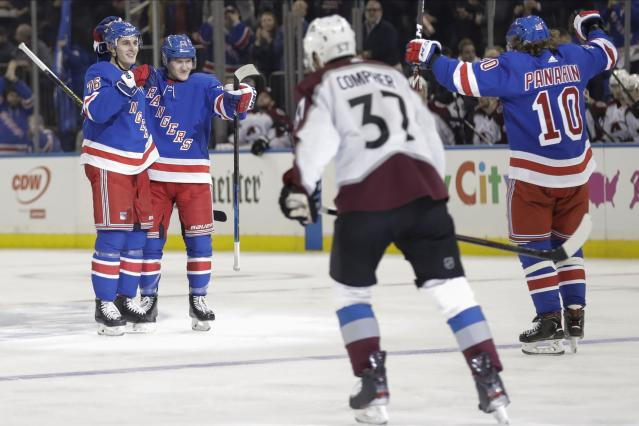 New York Rangers' Brady Skjei, left, celebrates with Adam Fox and Artemi Panarin, right, after scoring a goal a during the second period of an NHL hockey game, as Colorado Avalanche's J.T. Compher (37) skates away Tuesday, Jan. 7, 2020, in New York. (AP Photo/Frank Franklin II)