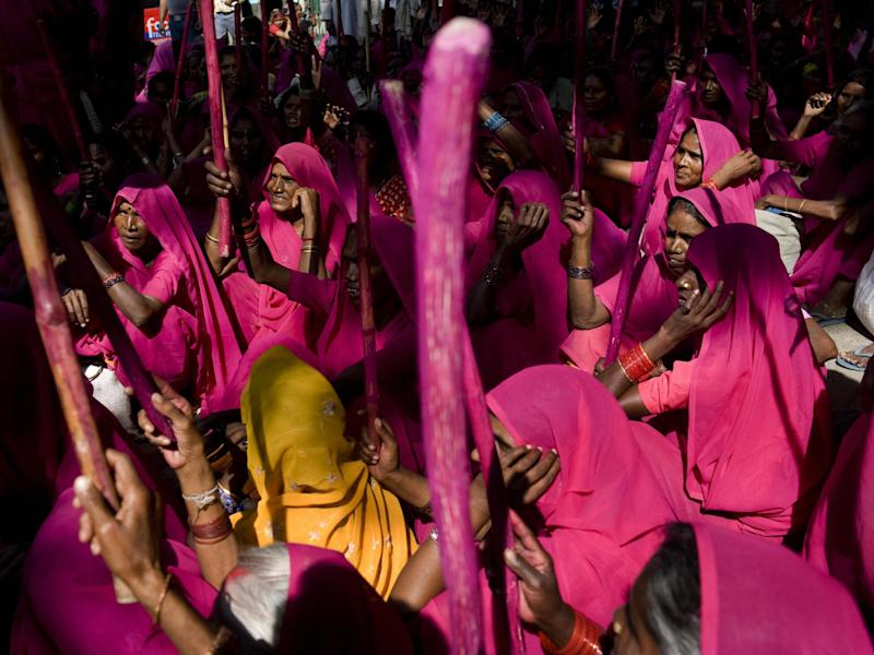 The feminist vigilante group the Gulabi gangs who have recently started a campaign in Madhya Pradesh to disrupt alcohol sales