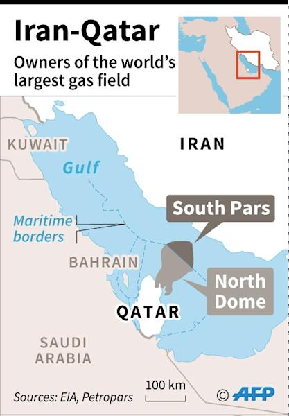 Map of the Gulf showing the South Pars/North Dome gas field, shared by Iran and Qatar (AFP Photo/Sophie RAMIS)