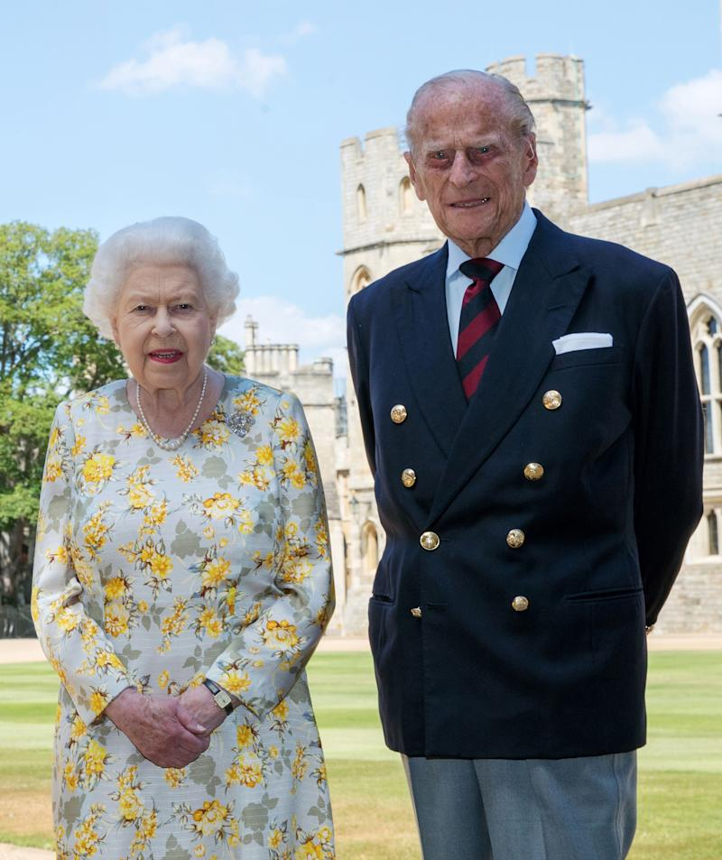 Queen Elizabeth II and the Duke of Edinburgh pictured 1/6/2020 in the quadrangle of Windsor Castle ahead of his 99th birthday on Wednesday. (Photo by Steve Parsons/PA Images via Getty Images)