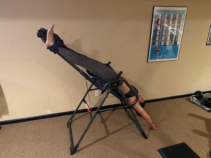 Day six: My back felt great after hanging on an inversion board upside down.