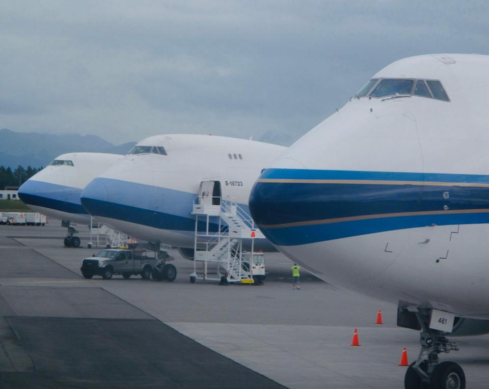 Heavy lifting: Boeing 747 freighters at Ted Stevens airport, Anchorage, Alaska (Simon Calder)