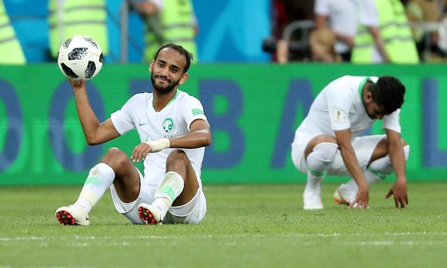 Soccer Football - World Cup - Group A - Uruguay vs Saudi Arabia - Rostov Arena, Rostov-on-Don, Russia - June 20, 2018 Saudi Arabia's Abdullah Otayf looks dejected after the match REUTERS/Marko Djurica TPX IMAGES OF THE DAY