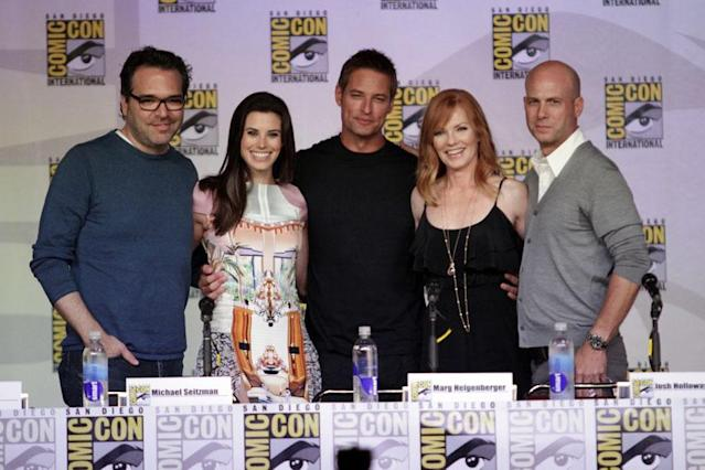 "Producer Michael Seitzman, actors Meghan Ory, Josh Holloway, Marg Helgenberger and producer Tripp Vinson onstage at the ""Intelligence"" panel during Comic-Con International 2013 at San Diego Convention Center on July 18, 2013 in San Diego, California."