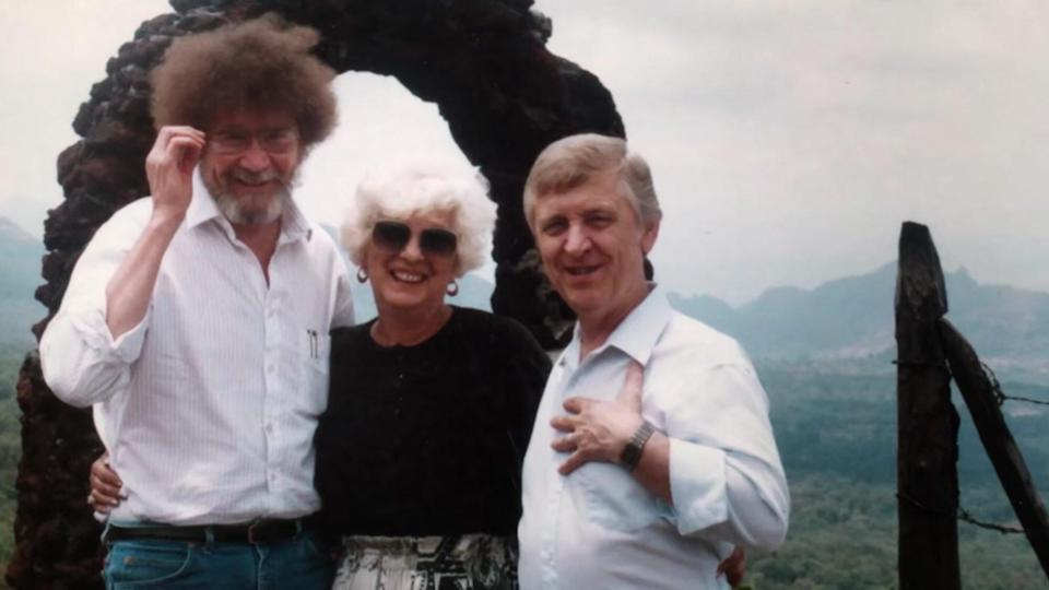 BOB ROSS HAPPY ACCIDENTS; BETRAYAL & GREED. (L TO R) Bob Ross, Annette and Walt Kowalski