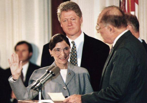 PHOTO: Chief Justice of the Supreme Court William Rehnquist, right, administers the oath of office to newly-appointed Supreme Court Justice Ruth Bader Ginsburg as President Bill Clinton looks on, Aug. 10 1993. (Kort Duce/AFP/Getty Images)
