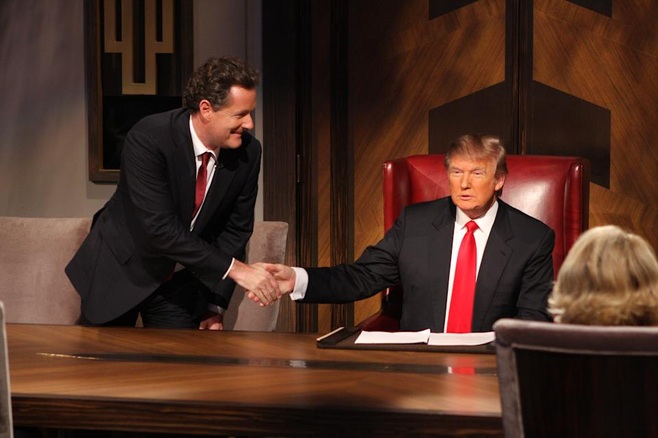 Piers Morgan on the set of the Season Finale of the Celebrity Apprentice on May 10, 2009  in New York City. (Photo by Bill Tompkins/Getty Images)