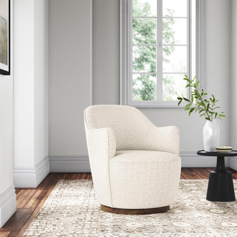 <p>Nothing feels more on trend than a piece of boucle furniture. The soft and cozy <span>Joss &amp; Main Wide Polyester Swivel Armchair</span> ($949) is at the top of our wish lists.</p>