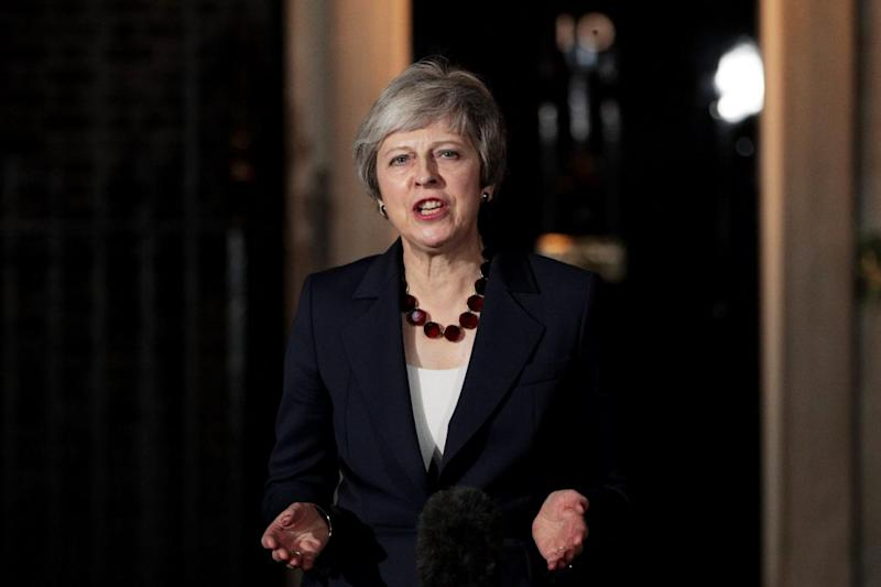 Theresa May delivers her Brexit statement at Downing Street (Getty Images)