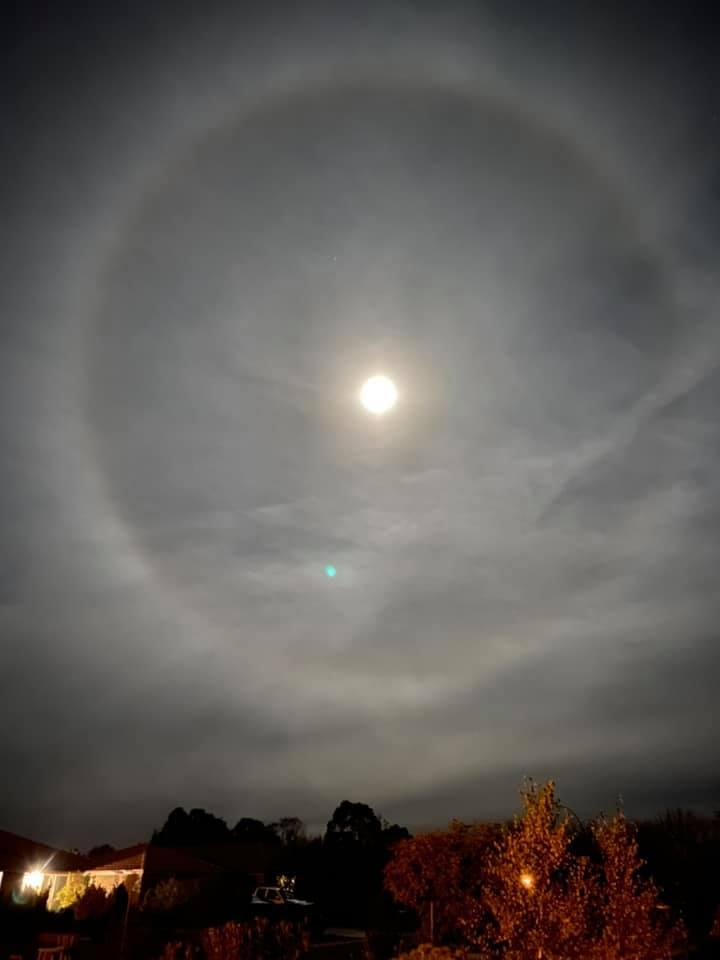 A resident of Bungendore near the NSW ACT border also captured the moon halo Wednesday evening. Source: Facebook