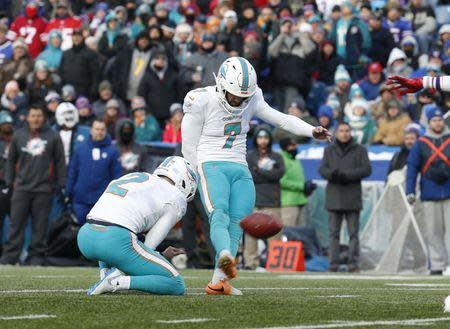 Dec 30, 2018; Orchard Park, NY, USA; Miami Dolphins kicker Jason Sanders (7) kicks a field goal during the second half against the Buffalo Bills at New Era Field. Mandatory Credit: Timothy T. Ludwig-USA TODAY Sports