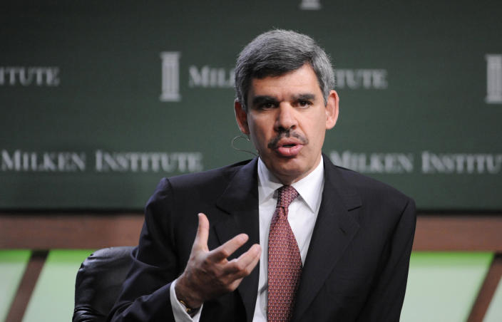 """Mohamed El-Erian, CEO and Co-Chief Investment Officer, Pacific Investment Management Co., speaks during the """"Financial Recovery: When and How?"""" panel at the 2009 Milken Institute Global Conference in Beverly Hills, California April 27, 2009. REUTERS/Phil McCarten/File Photo"""