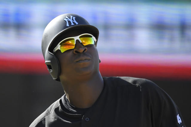 New York Yankees' Didi Gregorius looks up after being hit by a pitch during the first inning of a baseball game against the Los Angeles Dodgers Sunday, Aug. 25, 2019, in Los Angeles. (AP Photo/Mark J. Terrill)