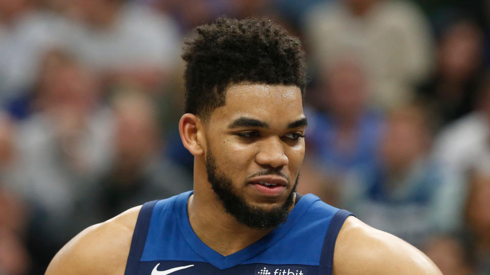 Karl-Anthony Towns defended LeBron James and attacked Donald Trump. (AP Photo/Jim Mone)