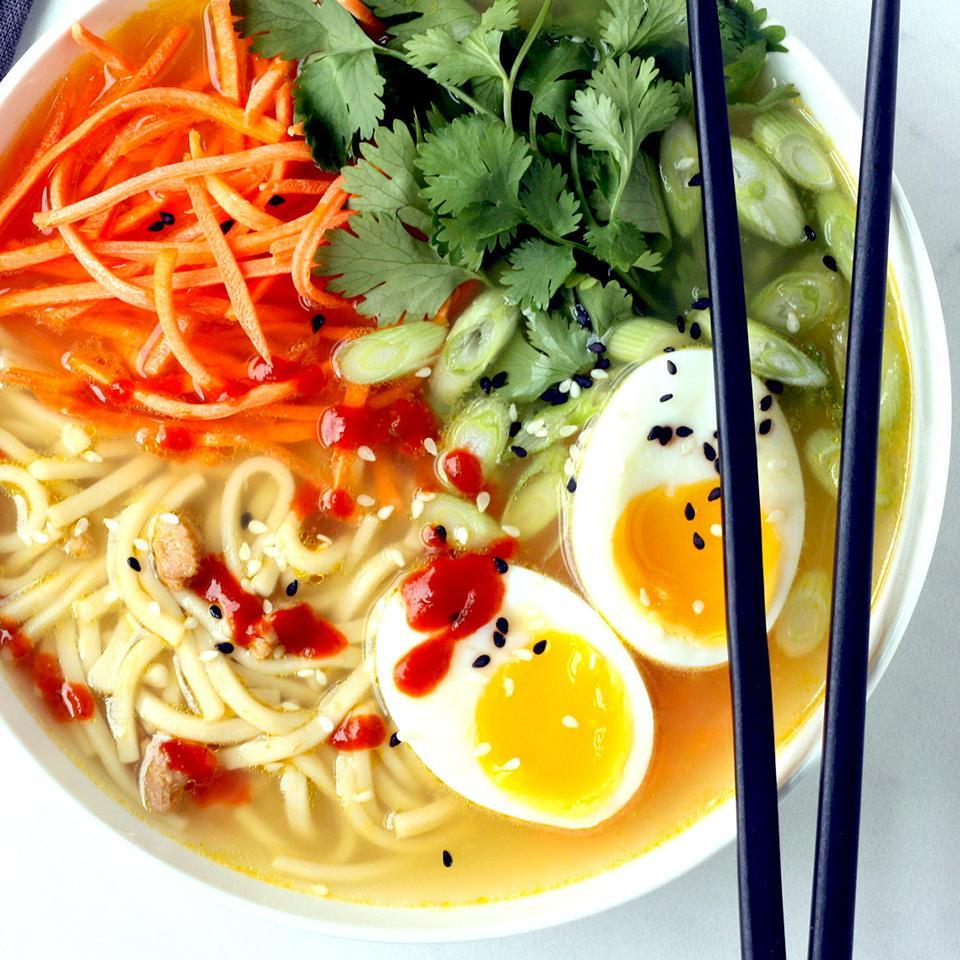 <p>Transform canned chicken noodle soup into quick ramen bowls by adding fresh ginger, crunchy vegetables, herbs and a jammy soft-boiled egg. Look for a low-sodium soup that has 450 mg sodium or less per serving.</p>