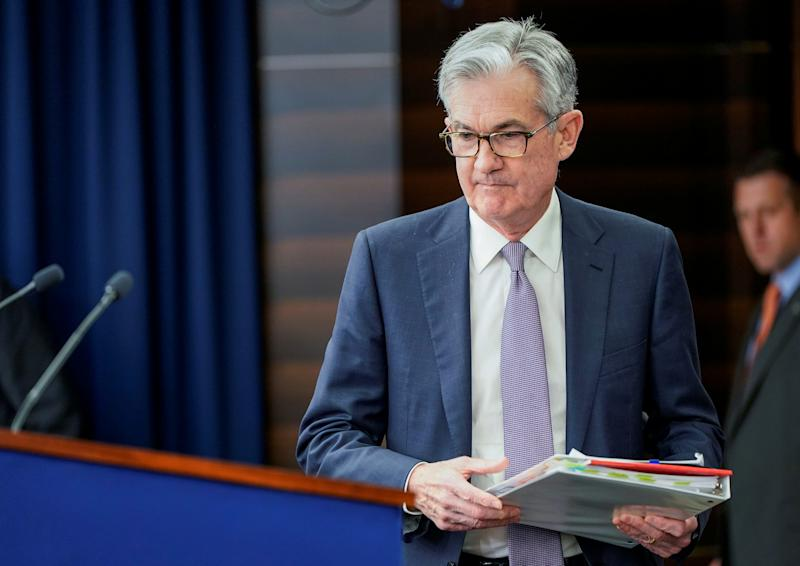 Federal Reserve Chair Jerome Powell arrives for a news conference following the Federal Open Market Committee meeting in Washington, U.S., December 11, 2019. REUTERS/Joshua Roberts