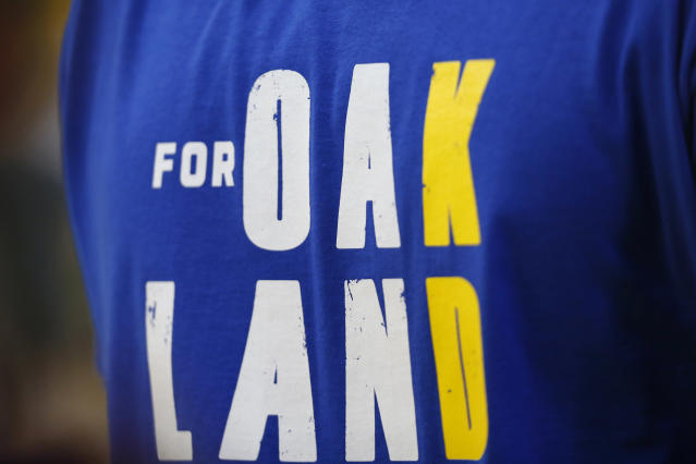 OAKLAND, CALIFORNIA - JUNE 13: A warm up shirt in honor of Kevin Durant #35 of the Golden State Warriors is seen prior to Game Six of the 2019 NBA Finals between the Golden State Warriors and the Toronto Raptors at ORACLE Arena on June 13, 2019 in Oakland, California. (Photo by Lachlan Cunningham/Getty Images)