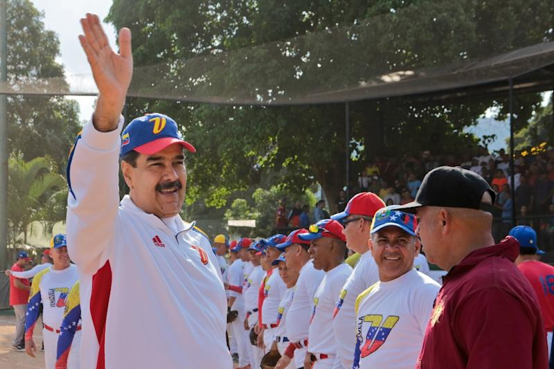 The US says the only thing to negotiate with Venezuela's government is the departure of President Nicolas Maduro, seen here in a handout photo released by the Miraflores presidential palace press