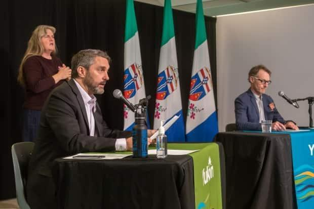 Yukon Premier Sandy Silver, left, and Chief Medical Officer of Health, Dr. Brendan Hanley provided an update on COVID-19 in the territory on Wednesday morning.