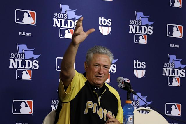 Pittsburgh Pirates manager Clint Hurdle (13) answers a question during a press conference before a baseball workout in Pittsburgh Saturday, Oct. 5, 2013. The Pirates are scheduled to play the St. Louis Cardinals in Game 3 of the National League division series on Sunday. (AP Photo/Gene J. Puskar)