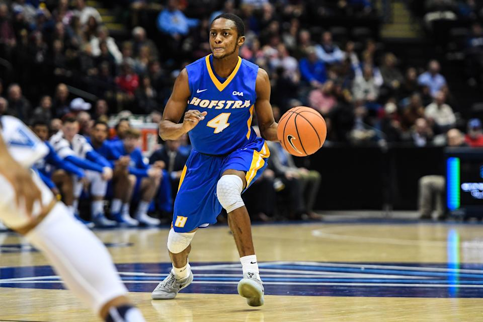 Dec 22, 2017; Hempstead, NY, USA; Hofstra Pride guard Desure Buie (4) looks to make a pass during the first half of the game between the Hofstra Pride and the Villanova Wildcats at Nassau Coliseum.