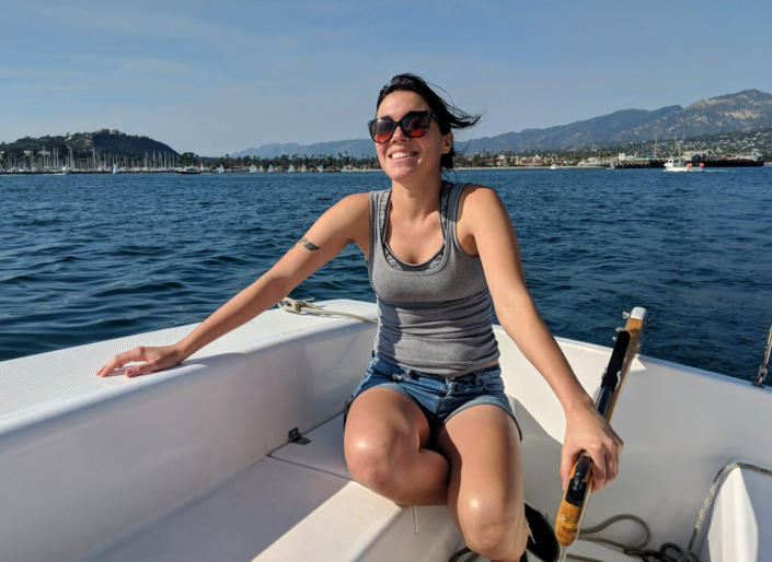 This June 2018 photo provided by Rob McClelland shows Allie Kurtz aboard a sailboat. Kurtz, a 26-year-old scuba diving boat crewmember who loved the ocean and had just landed her dream job, is among multiple victims of a deadly fire that torched a dive boat off Southern California's coast, her family said on Wednesday, Sept. 4, 2019. Kurtz recently left a job in movie promotion with Paramount to follow her heart and work on the sea, said her grandmother, Doris Lapporte. (Rob McClelland via AP)