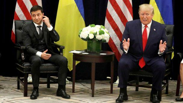 PHOTO: Ukraine's President Volodymyr Zelenskiy listens during a bilateral meeting with President Donald Trump at the United Nations General Assembly (UNGA) in New York City, Sept. 25, 2019. (Jonathan Ernst/Reuters, FILE)