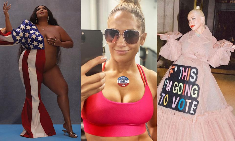 Jennifer Lopez, Lizzo and Christina Aguilera all showed off their voting outfits on Instagram — and they were far from subtle. (Photos: Instagram)