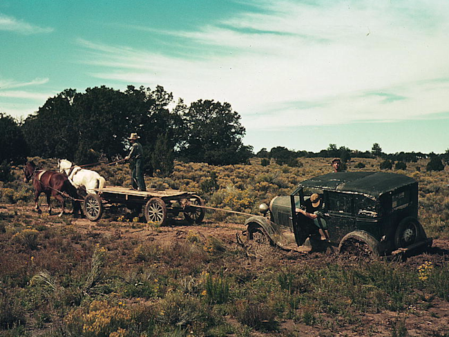 Towing a car Great Depression