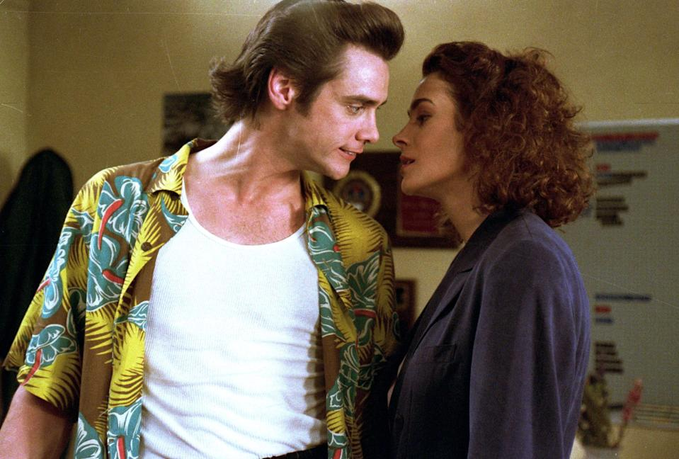 Jim Carrey and Sean Young in <i>Ace Ventura: Pet Detective</i> (Warner Bros.)