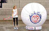 Millie Mackintosh Attends The Launch Of The Npower 'Big Dribble', Trafalgar Square, London. (Photo by John Phillips/UK Press via Getty Images)