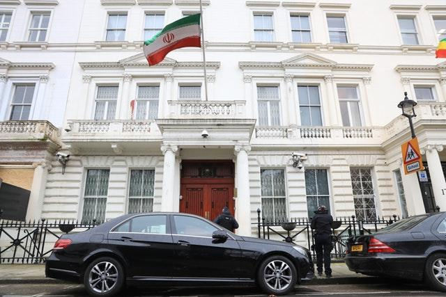 Police officers outside the Iranian Embassy in Knightsbridge, London