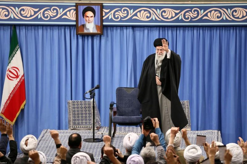 Iran's Supreme Leader Ayatollah Ali Khamenei delivers a speech during a gathering in Tehran