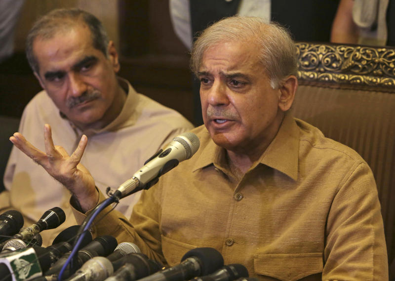 Shahbaz Sharif brother of Pakistan's former Prime Minister Nawaz Sharif who now heads the Pakistan Muslim League addresses a news conference in Lahore Pakistan Thursday